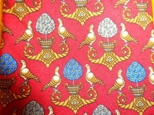 SALVATORE FERRAGAMO ~RED & BLUE SILK DRESS SHIRT S