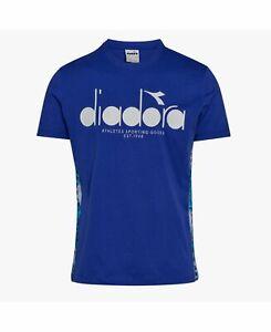 Diadora-Mens-T-Shirt-White-Blue-Size-Small-S-Graphic-Tee-Logo-Printed-35-099
