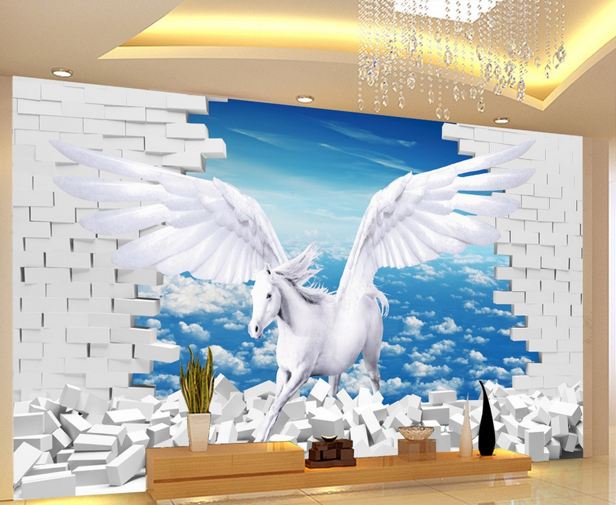 3D Horse Fly 646 Wallpaper Murals Wall Print Wallpaper Mural AJ WALL UK Lemon