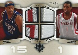 2007-08 Vince Carter Tracy McGrady Ultimate Match Ups JERSEY PATCHES #22/25 Rare
