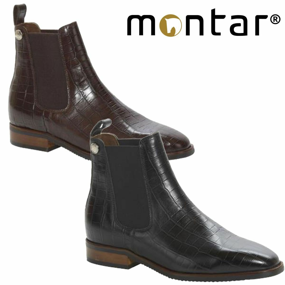 Montar Croco Pull On Jodhpur Boots