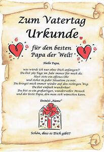 Details Zu Urkunde Zum Vatertag Geschenk Für Vater Papa Für Den Besten Papa Der Welt