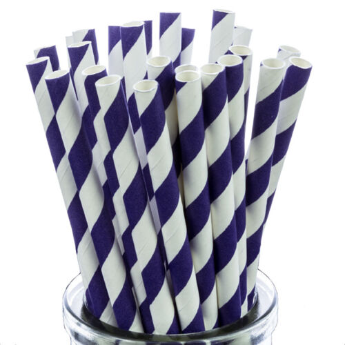 Purple Striped Paper Straws x25 retro cakepop sticks vintage drinking