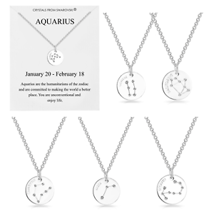 Details about Silver Star Sign Zodiac Disc Necklace Embellished with  Crystals from Swarovski®