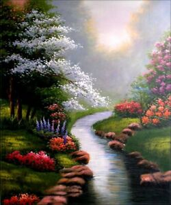 Quality-Hand-Painted-Oil-Painting-Stream-with-Flower-Bushes-20x24in