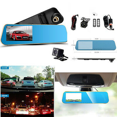 Aggressive 4.3 Hd 1080p Dual Lens Car Dvr Rear View Mirror Led Camera Videodriving Recorder Car & Truck Parts Car Video