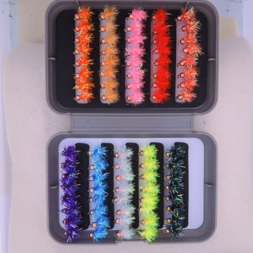 80 BH Estaz Egg assortment Steelhead Salmon Trout Bead Head #6 #8 #10 w// FLY BOX