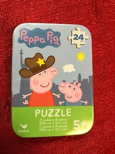"""Peppa Pig Mini Puzzle ~ 24 Pieces 5/"""" x 7/"""" w// Collectible Tin"""