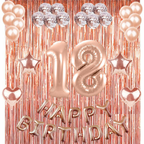 18th Rose Gold Happy Birthday Banner Confetti Balloon Party Decoration Supplies