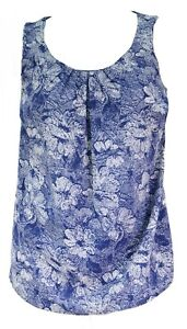 Womens-New-Sleeveless-T-Shirt-Top-Blue-White-Dapple-Print-Ladies-New