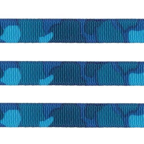5 yds 3/8 Camo Blue Aqua Camouflage Print Grosgrain