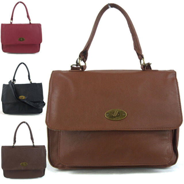 Womens Handbag Satchel Office Shoulder Bag Large Across Body Travel Faux Leather