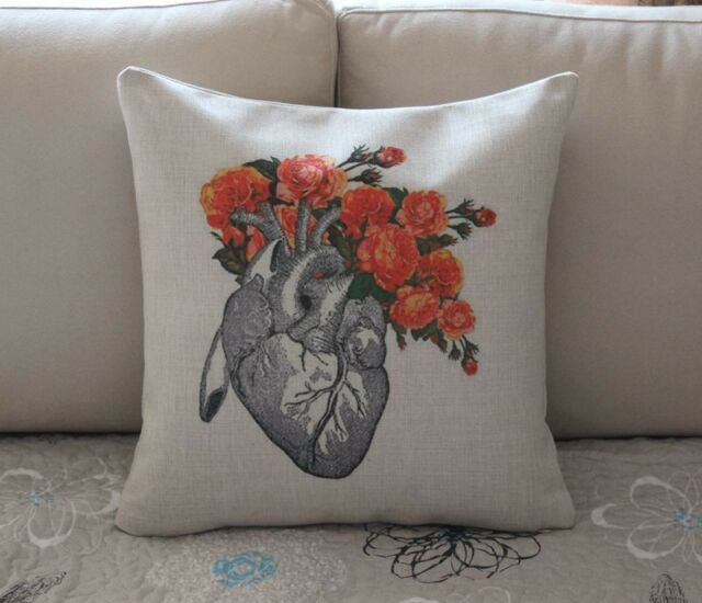 "17"" Vintage Flower Heart Cotton Linen Throw Pillow Cushion Cover Home Decor Z617"