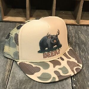 Beer-Bear-Deer-Trucker-Hat-Funny-80s-Vintage-Snapback-Hunting-Camp-Camo-Cap