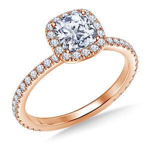 1.04 Ct Cushion Cut Genuine Moissanite Wedding Ring 14K Solid Rose Gold Size 7