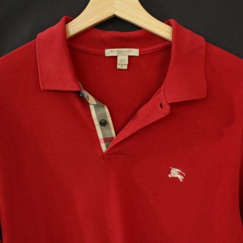 Mens M Burberry Brit Nova Check Red polo shirt Sho