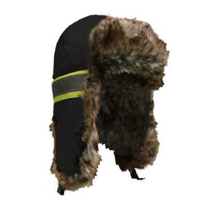 Jackfield 30-944 Black Trapper Hat with High-Visibility Stripes