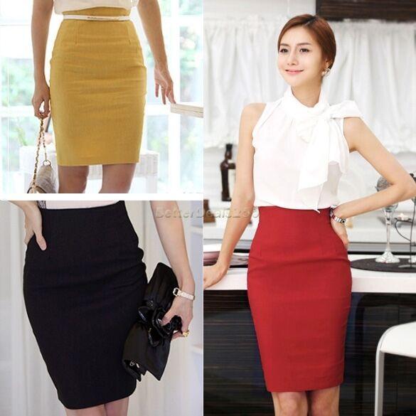Office Lady OL Business Women's B20E Bodycon High Waist Pencil Skirt Knee Length