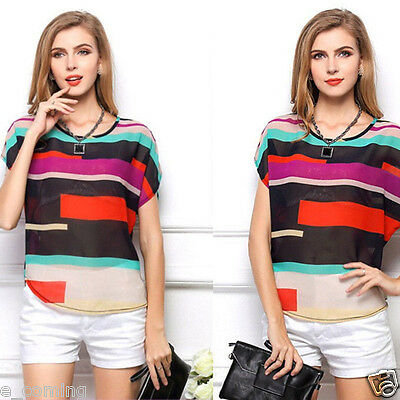 Summer Women Casual Chiffon Loose Tops Batwing Short Sleeve Loose T-Shirt Blouse