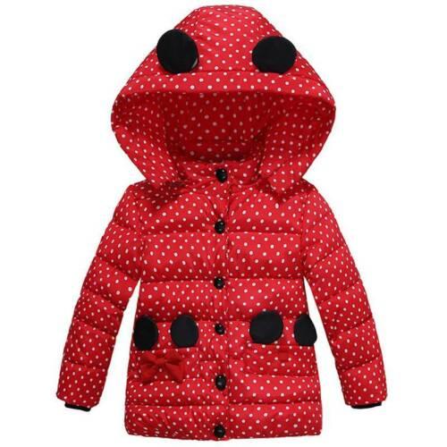 Girls Kids Hooded Polka Dot Warm Coat Jacket Winter Thick Outwear Tops Age 2-5Yr