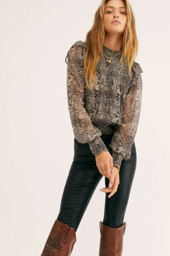 Details about  /Free People Roma Mock neck Sheer Long Sleeves Blouse Black Snake Sz XS M NWT