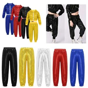 Boys-Girl-Street-Dress-Outfit-Hip-hop-Jazz-Dance-Costume-Kid-Shiny-Dance-Trouser