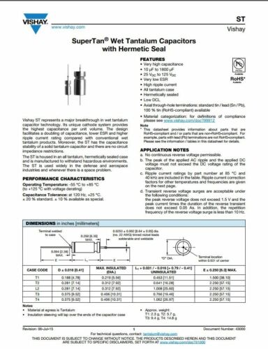 Neuf Condensateur Cap Tantale humide 220uF 100 V tansitor ST220-100T4KMI