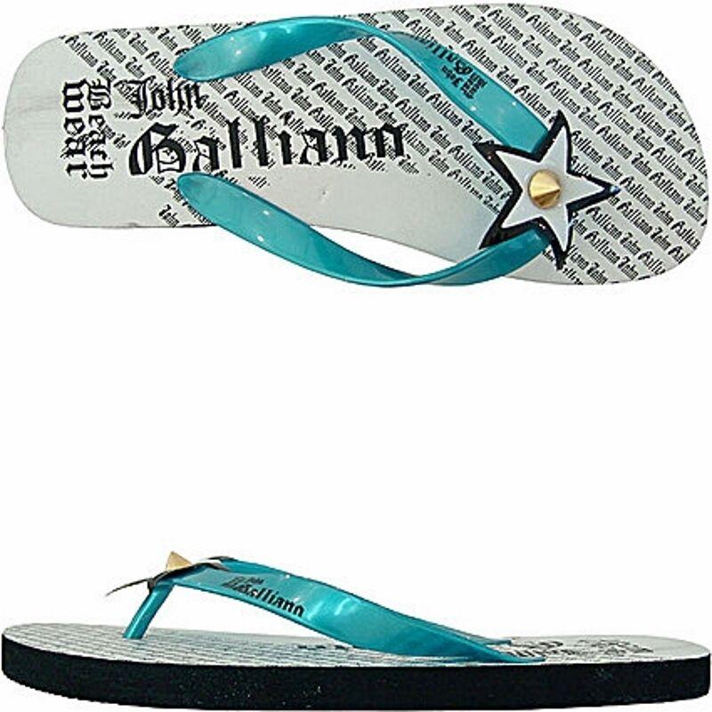 John Galliano flip-flops star, star beach flip flops black
