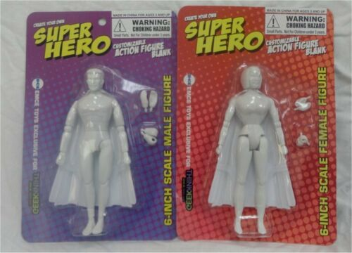 Set of 2 Create Your Own 6 inch Superhero male//female