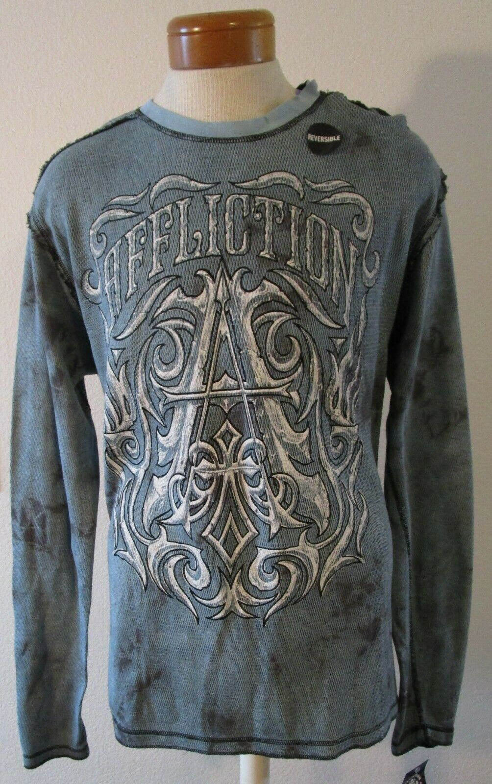NWT Affliction Mens Causeway Chalkboard Reversible Thermal Shirt 2XL MSRP