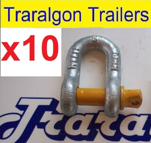 10x gal galvanised rated D shackles Yellow pin 1000kg 1tonne trailer boat L93