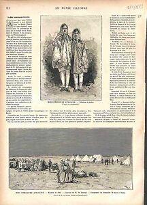 Gabes-Tunisie-Tunisia-Mission-Campement-GRAVURE-ANTIQUE-PRINT-1883