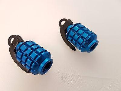 Posh - Bicycle/motorbike/car Tyre Caps - Blue Hand Grenade 2pkt Ausgezeichnet Im Kisseneffekt