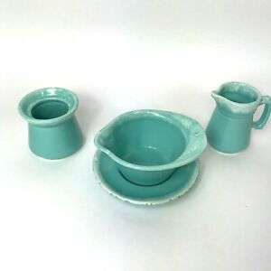 Hull-USA-Crestone-Turquoise-Drip-4-Piece-Set-Pottery-Serving-Pieces-1965