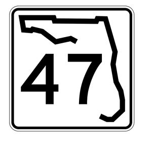 Florida State Road 47 Sticker Decal R1381 Highway Sign