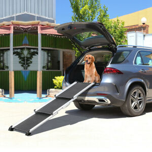 Folding Telescoping Pet Dog Cat Ramp, Great Use for Car SUV Bed Truck Travel