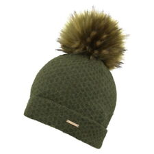 0d6e97e3df0 Alice Hannah Eden Knitted Bobble Hat with Faux Fur Pom Brown Green Grey