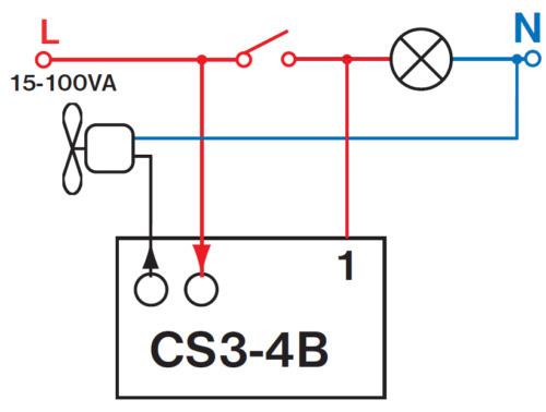 Interrupteur horaire pour ventilateurs avec retard cs3-4b