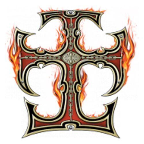 T Shirt im schwarz Kreuz Gothik Chopper-/&Tattoomotiv Modell Celtic Cross Flames