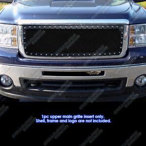 Fits-2007-2013-GMC-Sierra-1500-New-Body-Stainless-Black-Rivet-Studs-Mesh-Grille