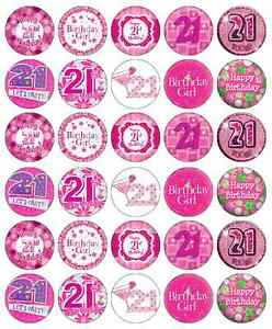 Image Is Loading 30 X 21st Birthday Girl Cupcake Toppers Pink