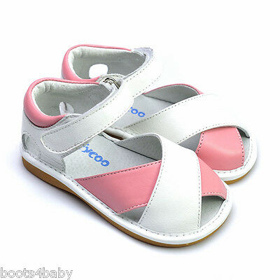 Girl's Infant Toddler Children's Squeaky Shoes Pink &White Real Leather Sandals