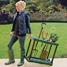 Rack de almacenamiento de la herramienta de jardín caseta de jardinería Caddy titular sobre ruedas