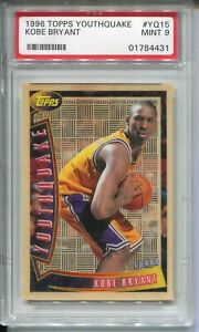 1996 Topps Youthquake YQ15 Kobe Bryant Rookie Card Graded PSA MINT 9 Lakers