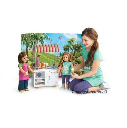"""American Girl TRULY ME CAMPUS SNACK CART 18/"""" Dolls Food Apron Hot Dog Stand NEW"""