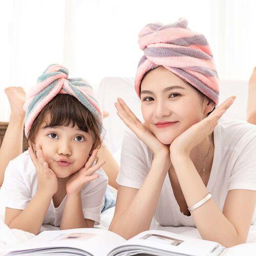 Microfiber Bathing Striped Dry Hair Cap Turban Wrap Towel Hat Hair-drying Super