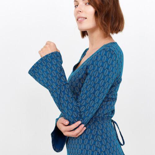 Noir Tranquillo Ceinture W18e27 Biologique Bleu Coton Robe Trompette Manches X1Xvr