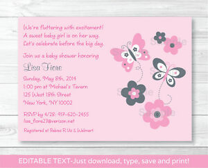 Pink gray butterfly flowers printable baby shower invitation image is loading pink gray butterfly flowers printable baby shower invitation filmwisefo