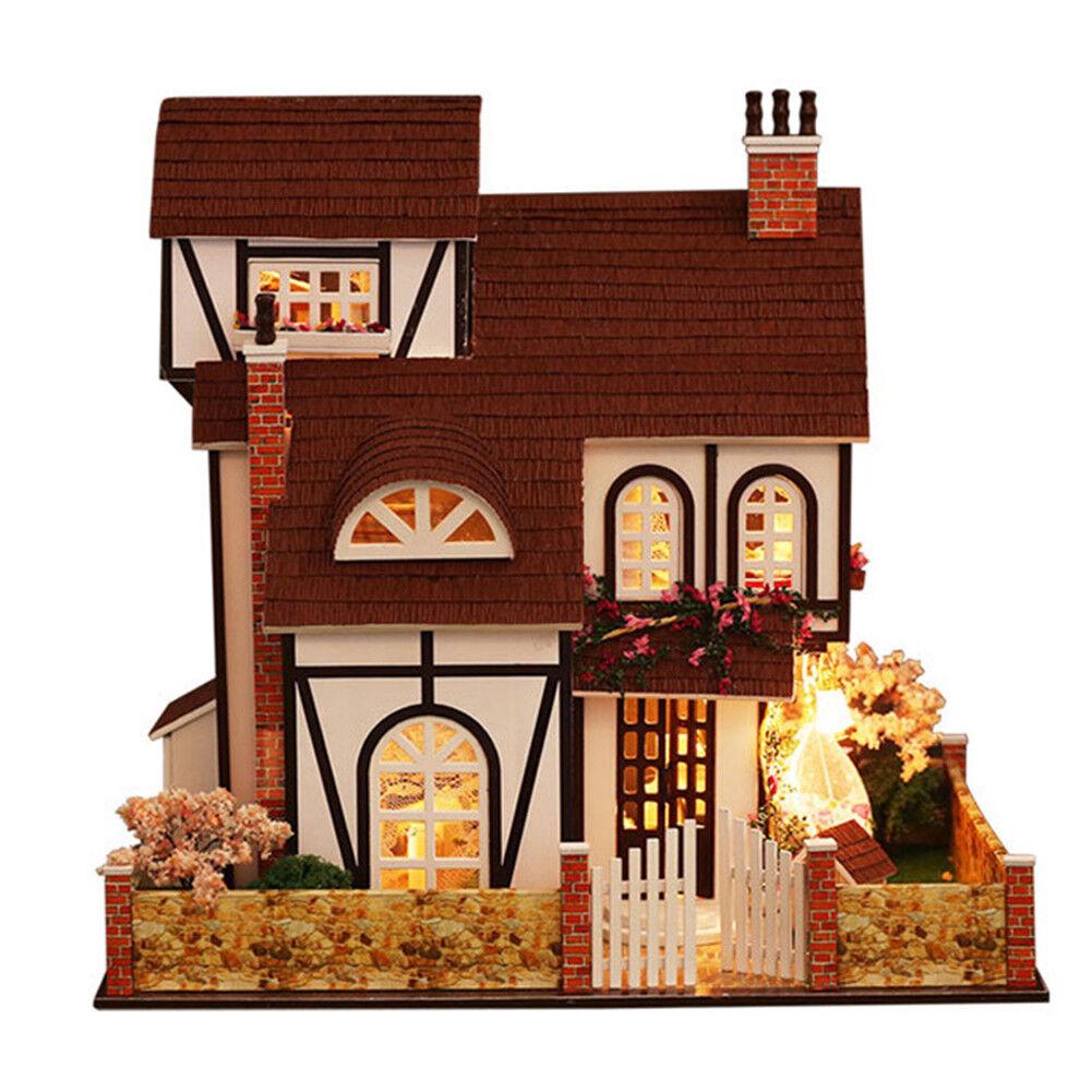 Casa de muñecas en miniatura Hágalo usted mismo kit con Cubierta de Madera Juguete Muñeca Casa Cabaña Con Luces Led