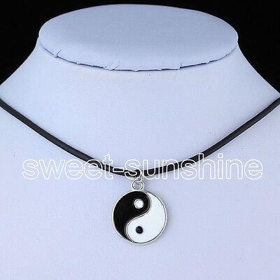 12 Style Unisex Charms Tibetan Silver Pendant Necklace Choker Black Leather Cord